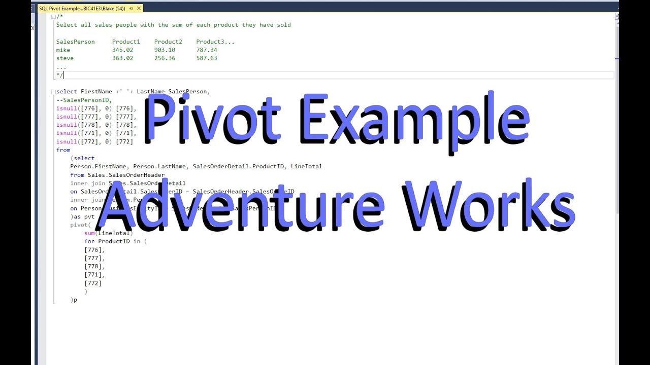 Sql Pivot Example Adventure Works Youtube