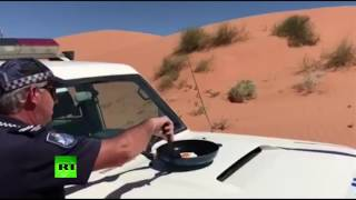 Sizzling Up  Australian policeman fries egg on car hood in 46°C weather