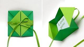 DIY Pop-up diamond envelope. DIY Valentine card. Origami gift envelope / card