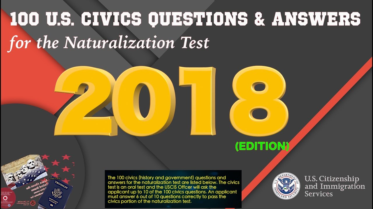 2018 UNITED STATES CITIZENSHIP INTERVIEW TEST QUESTIONS - OFFICIAL 100  Civics Questions and Answers