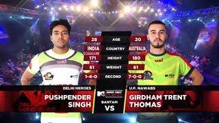 Delhi Heroes Vs U.P. Nawabs | MTV Super Fight League | Pushpender Singh Vs Girdham Trent Thomas