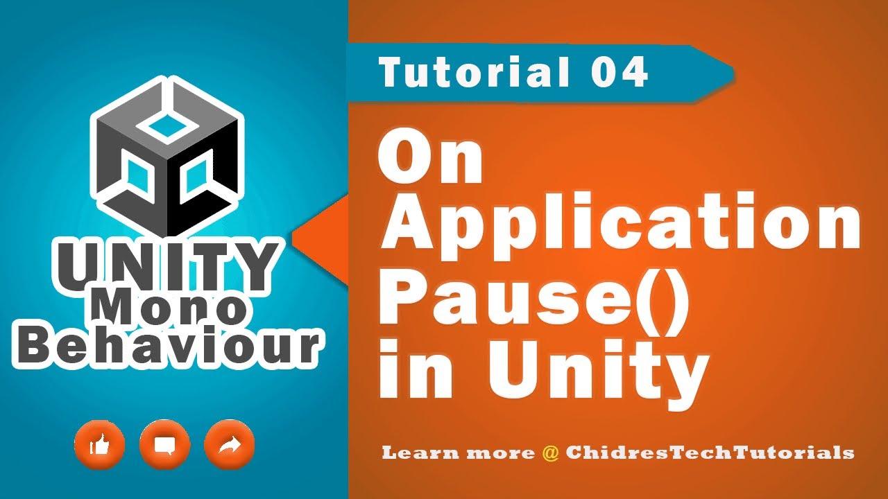 Unity Scripting API MonoBehaviour - 04 - On Application Pause () Event  Method