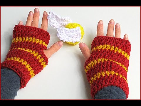 How to Crochet Fingerless Gloves Harry Potter style