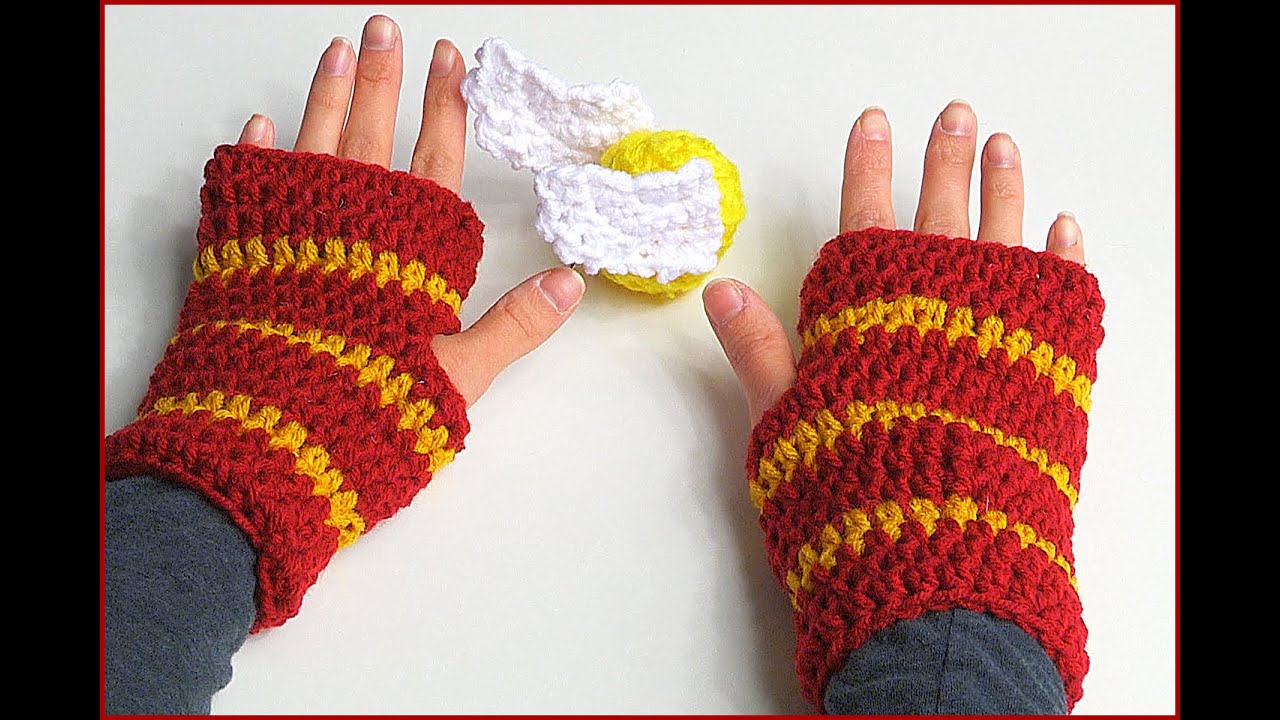 How to Crochet Fingerless Gloves Harry Potter style - YouTube