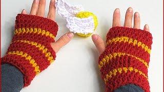 How to Crochet Fingerless Gloves Harry Potter style