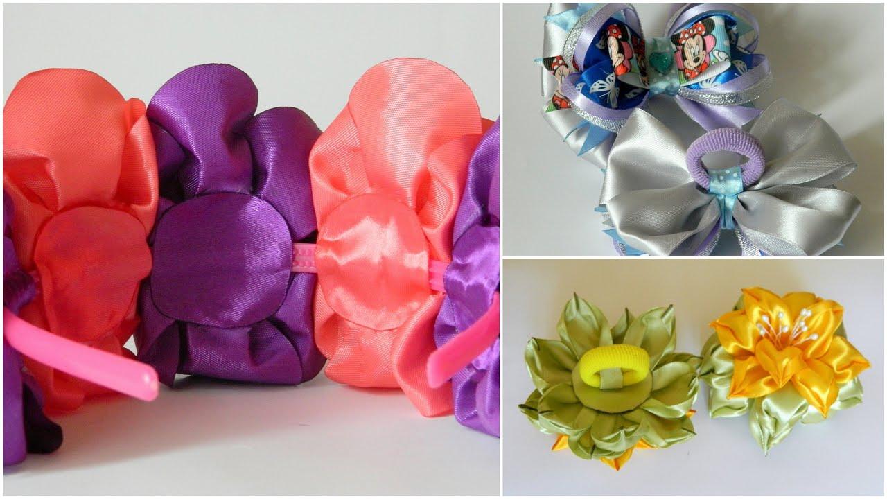 Как прикрепить резинку к цветку канзаши