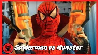Spiderman vs Monster w/ Pink Girlpool superheroes fun in real life comics funny superhero Kids