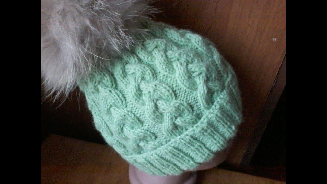 вязание шапки с косами на 5 спицахknitting Hats With Braids 5