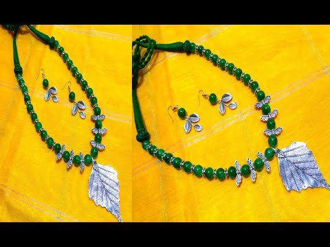 Making Glass Beads German Silver Necklace Set - Handmade Trending Necklace Making With Earrings