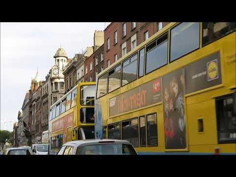 Driving & walking through the bustling city of Dublin, Ireland