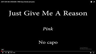 JUST GIVE ME A REASON PINK Easy Chords and Lyrics MP3