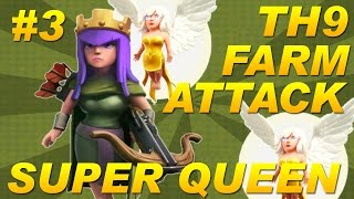 Clash of Clans -Town Hall 9 (TH9) Farming Attack Strategy -Archer Queen Walk / Super Queen (COC) #3