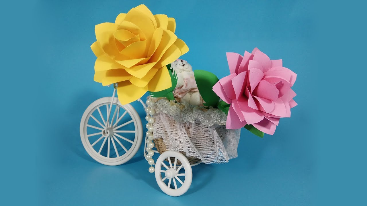 How to Make Very Beautiful Paper Rose Stick Flower/Origami Rose/DIY Paper Flowers