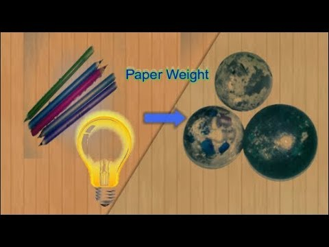 #paperweight #Hacks Diy paperweight by using wasted pen and wasted balb light | homemade paperweight