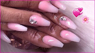 Natural French Ombré Acrylic Nails Start to Finish