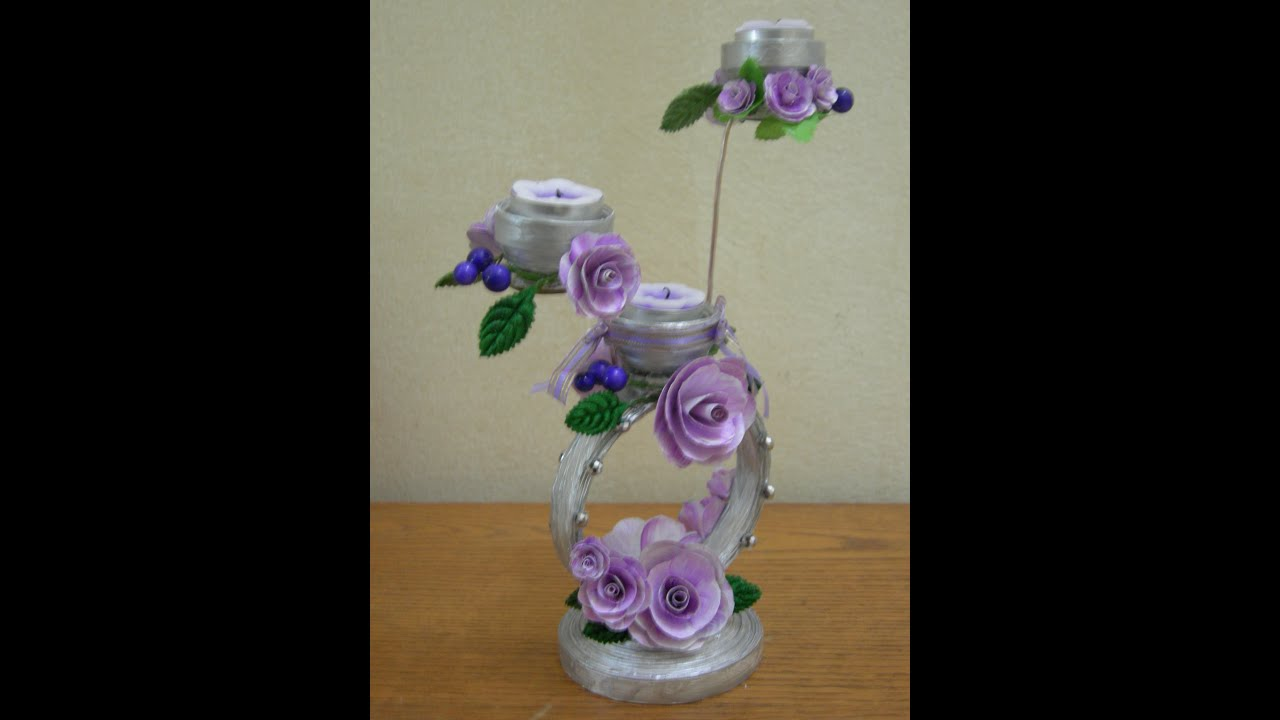 Best out of waste paper decorative candle stand youtube for What to make best out of waste