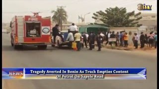 Tragedy averted in Benin as truck empties content of petrol on Sapele road