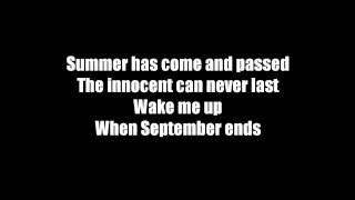 Wake me Up When September Ends-Instrumental with Lyrics