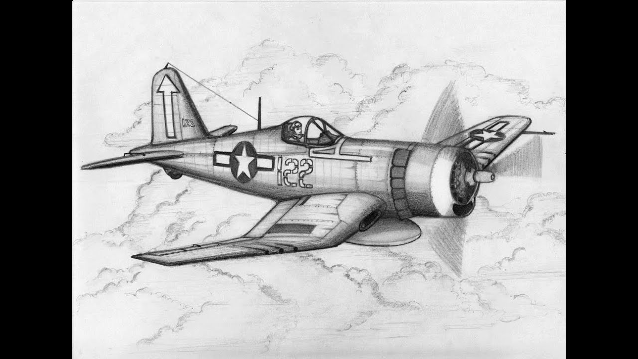 How To Draw A F4u Corsair Freehand Sketch Youtube