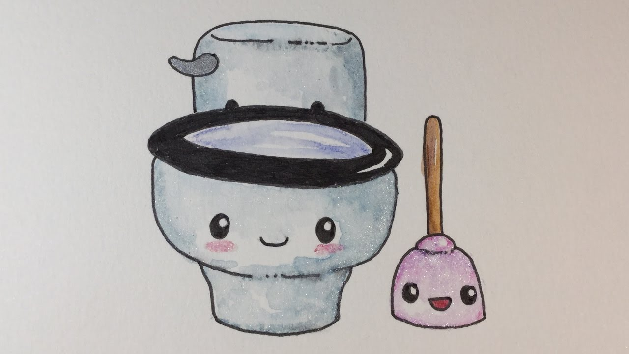 How To Draw Kawaii Toilet And Plunger  Step by Step Easy How To Draw Kawaii Toilet And Plunger  Step by Step Easy    YouTube. Toilet Drawing. Home Design Ideas