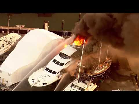 Chopper 5: Large yacht catches fire in Riviera Beach
