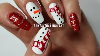 Freehand Christmas Nail Art | Snowman
