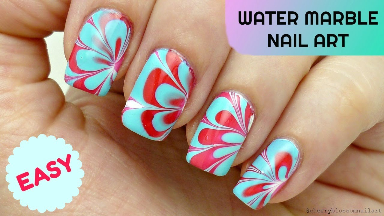 easy water marble nail art step