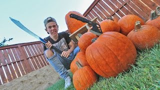 Video REAL LIFE FRUIT NINJA VS PUMPKINS! download MP3, 3GP, MP4, WEBM, AVI, FLV Januari 2018