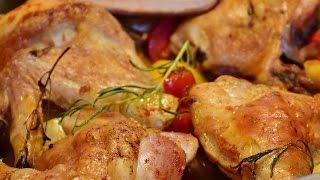 Курица с картошкой в духовке. Куриные окорочка в духовке с картошкой!