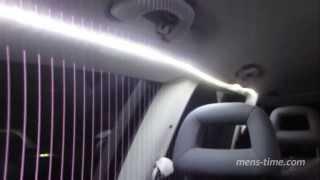 Светодиодные ленты в салоне автомобиля  Приклеивание двусторонним скотчем на потолок(Приклеиннее пол года назад светодиодные ленты начали отклеиваться от потолка моей машины VW Sharan. Я решил..., 2013-09-11T16:43:50.000Z)