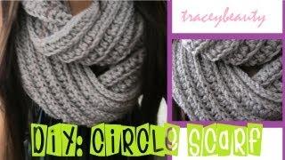 Repeat youtube video DIY: Knit-Like Circle Scarf(Crochet Tutorial)