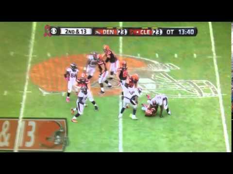 Denver Broncos player Malik Jackson sacks Cleveland Browns QB Josh McCown in Overtime for a big loss