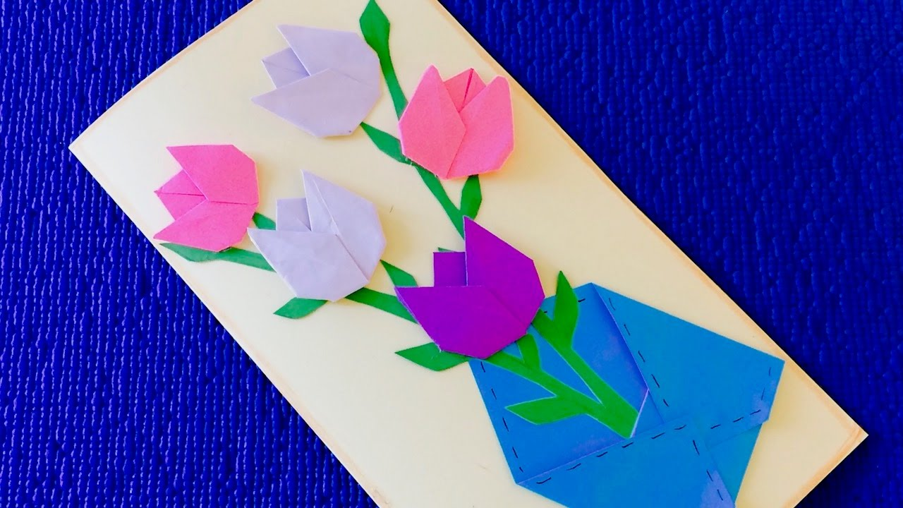 Тюльпаны своими руками из бумаги для открытки