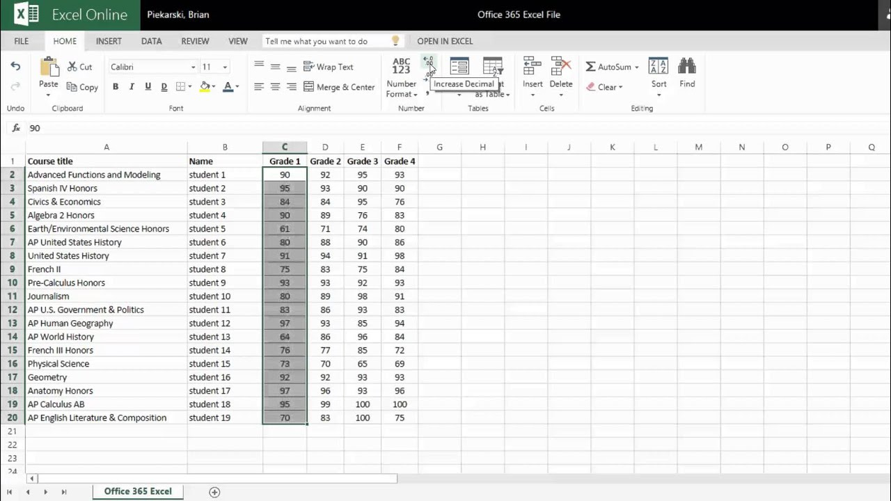 Office 365 Excel Formatting Cells