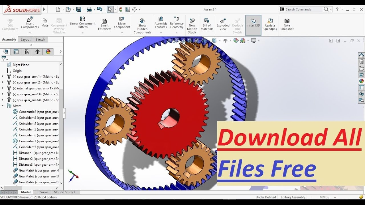 SolidWorks Tutorial: Planetary Gear Assembly by using Design Library