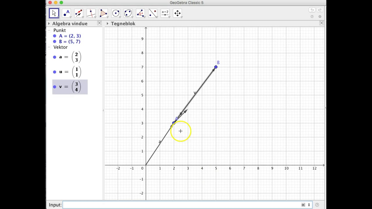 Introduktion til vektorer i GeoGebra
