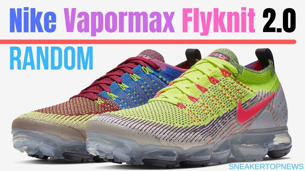 "55f0bfc7bd5418 The Nike Vapormax Flyknit 2 0 ""Random"" Combines Several Bright ..."