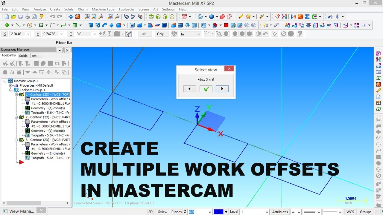 create multiple work offsets in mastercam milling youtube rh youtube com