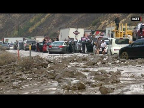 California Drivers Stranded After Flash Floods Trigger Massive Mudslides