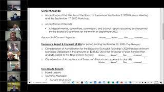 October 7, 2020 Schuylkill Township Board of Supervisors Meeting