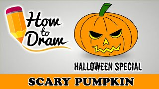 How To Draw A Scary Halloween Pumpkin Face  - Halloween Special Easy Drawing Lesson With Colouring
