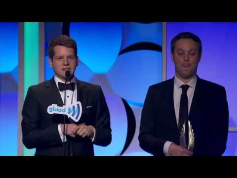 Graham Moore accepts the glaadaward for Outstanding Film  Wide Release