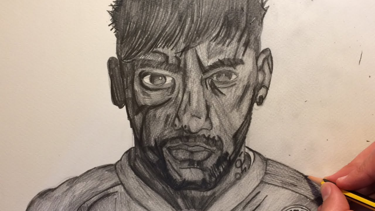 How to draw neymar speed drawing face using pencil