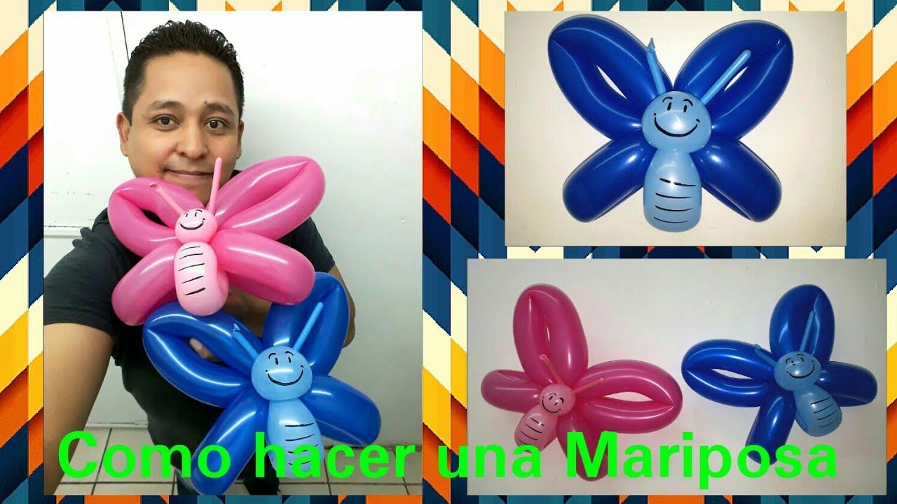 Como hacer una mariposa con globos largos globoflexia - Hacer munecos con globos ...