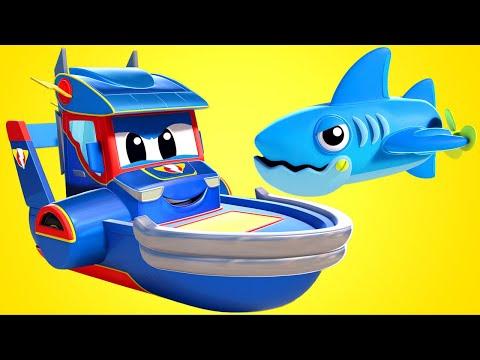 การ์ตูนรถบรรทุกสำหรับเด็ก ฉลามร้าย vs เรือซุปเปอร์โบ๊ท ซุปเปอร์ ทรัค ในคาร์ ซิตี้!