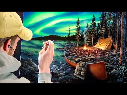 Realistic Landscape Painting Time-Lapse | Camping Under The Northern Lights
