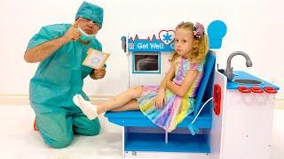 Nastya e pai história de lavar as mãos e os benefícios de uma alimentação saudável