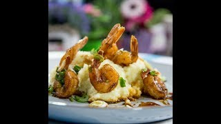 Flambeed Shrimp with Mashed Potatoes