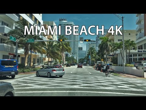 Driving Downtown - Collins Avenue - Miami Beach Florida USA
