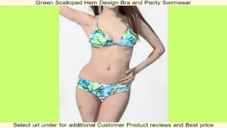 Green Scalloped Hem Design Bra and Panty Swimwear